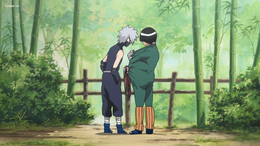 Image issue de Naruto où Gai écarte ses vêtments pour regarder son pénis avec Kakashi