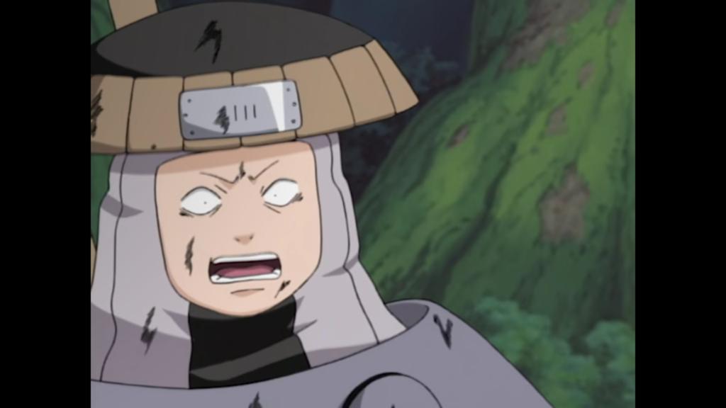 Image de l'examin Chûnin dans l'anime, où un ninja du pays de l'eau fait un visage effrayé face à Gaara