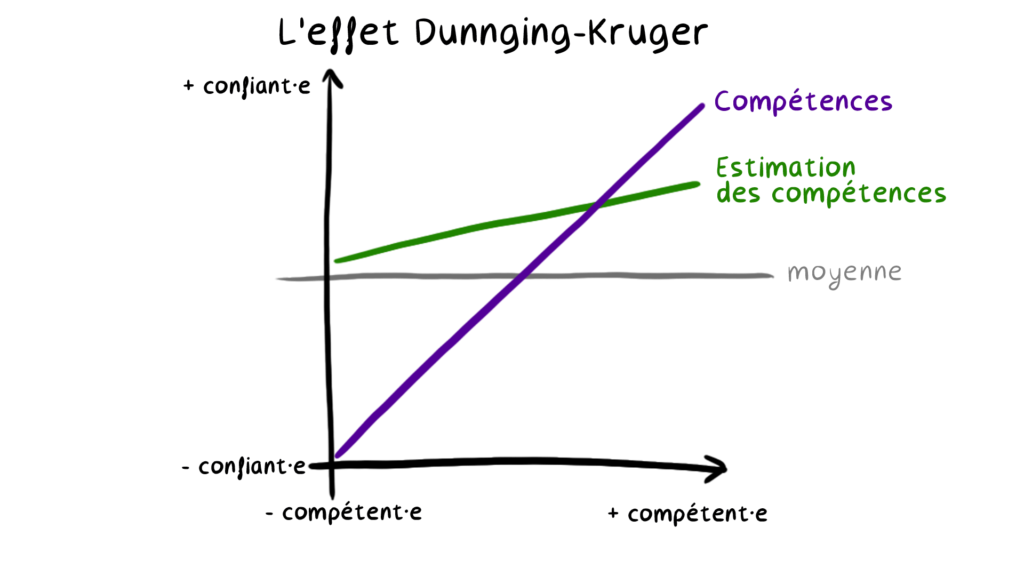 Il s'agit d'un schéma visuel de l'effet Dunning-Kruger qui va être décris dans la suite de l'article.