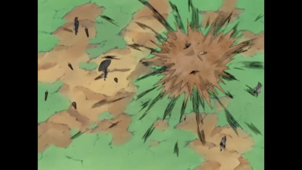 Image de la même scène où l'on voit Gaara tuer le personnage avec la technique du Sarcophage de sable.