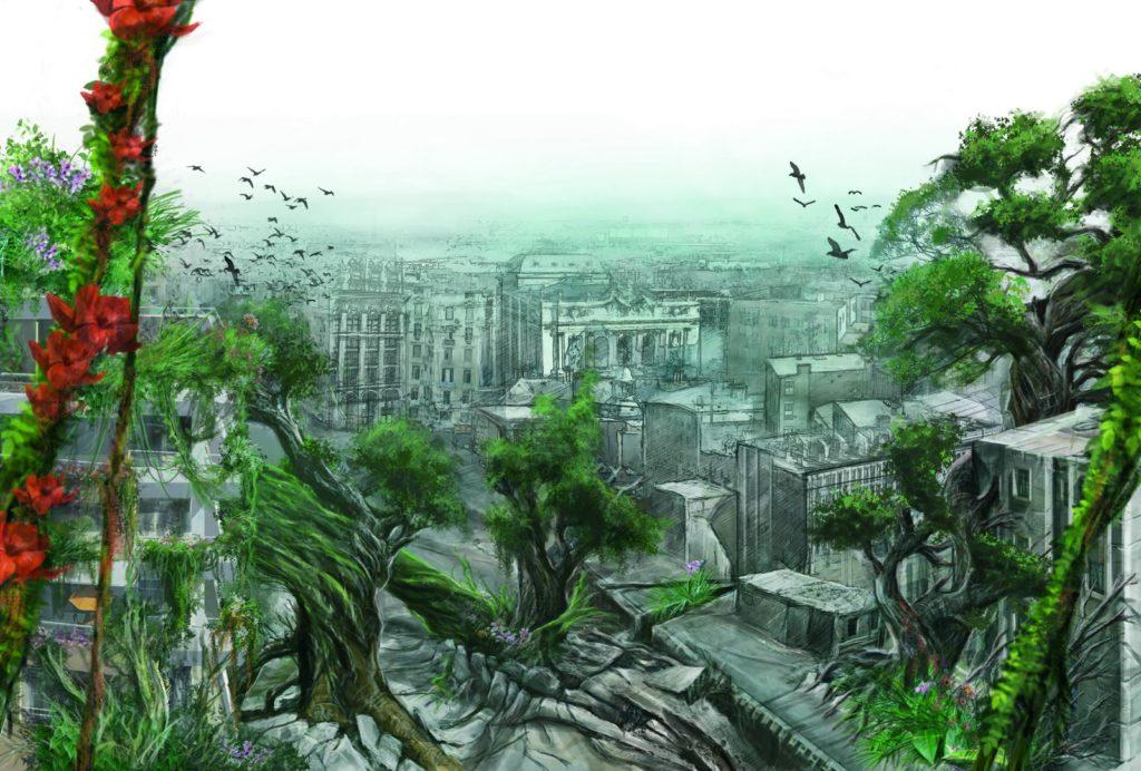 Illustration d'une ville européenne envahie par des arbres aux larges troncs et lianes couvertes de fleures rouges.