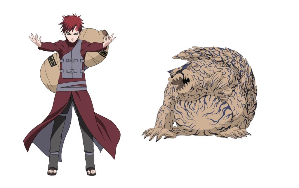 A gauche Gaara dans sa tenue de Naruto Shippuden. A droit Shukaku, le démon tanuki de sable.