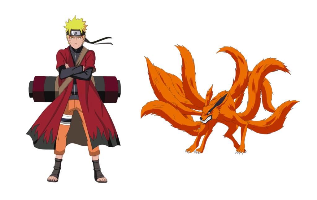 A gauche Naruto dans sa tenue de l'Arc de Pain, un long manteau rouge avec des flammes noires. A droite Kurama le démon renard à neuf queues.