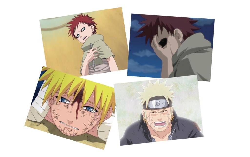 Quatre images de Naruto et Gaara, enfants et adolescents, en train de pleurer.